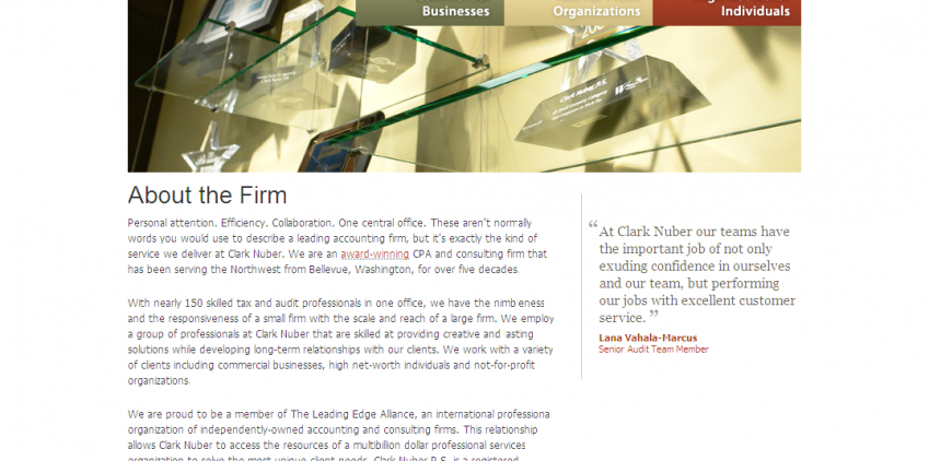 Copywriting for Clark Nuber, prestigious Northwest accounting firm